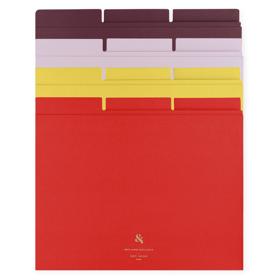 Wit & Delight Assorted File Folders Set of Twelve | Red/Yellow/Lavender/Purple