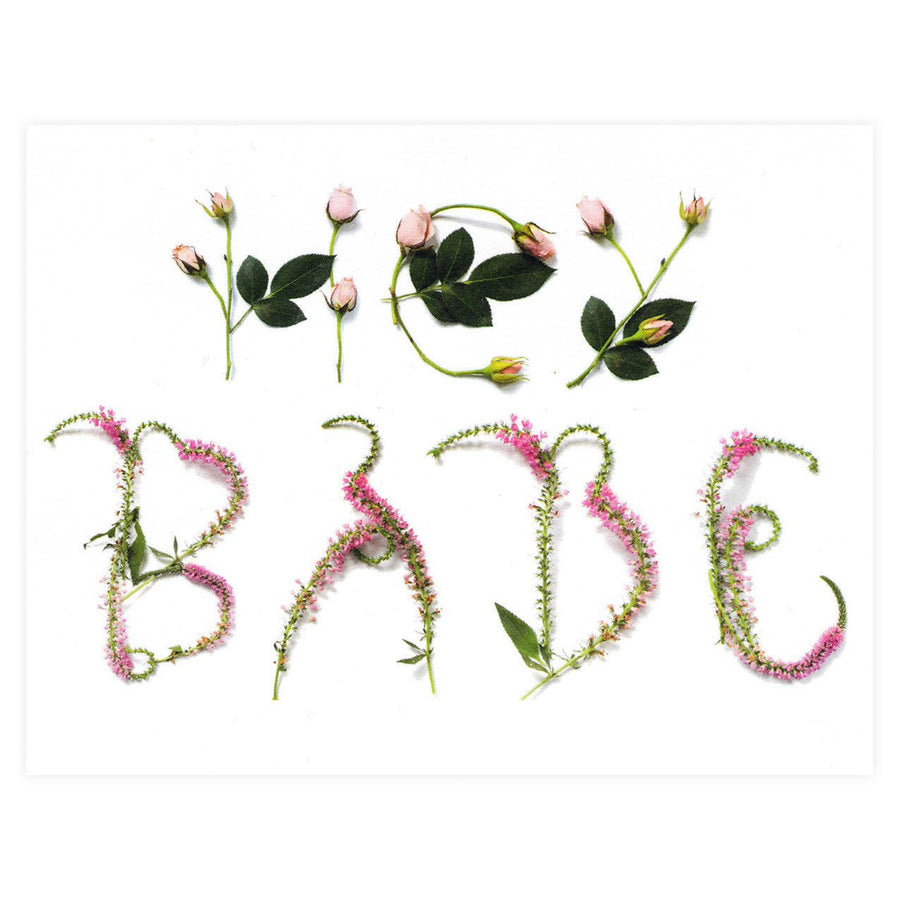 With Lavender And Lace Hey Babe Floral Typography Greeting Card - GREER Chicago Online Stationery Shop