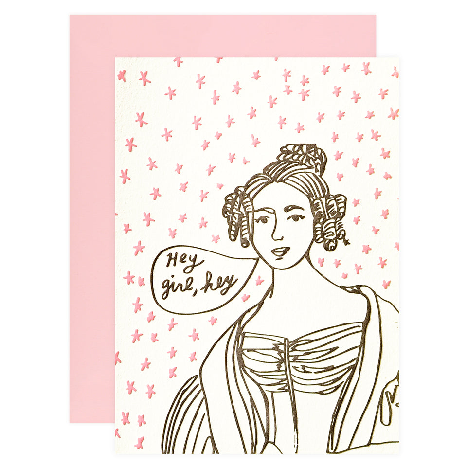 Wolf and Wren Press Portrait Hey Girl Greeting Card