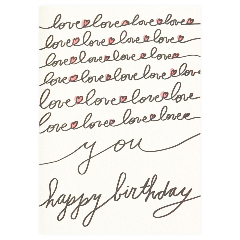 Wolf & Wren Press Love You Birthday Card