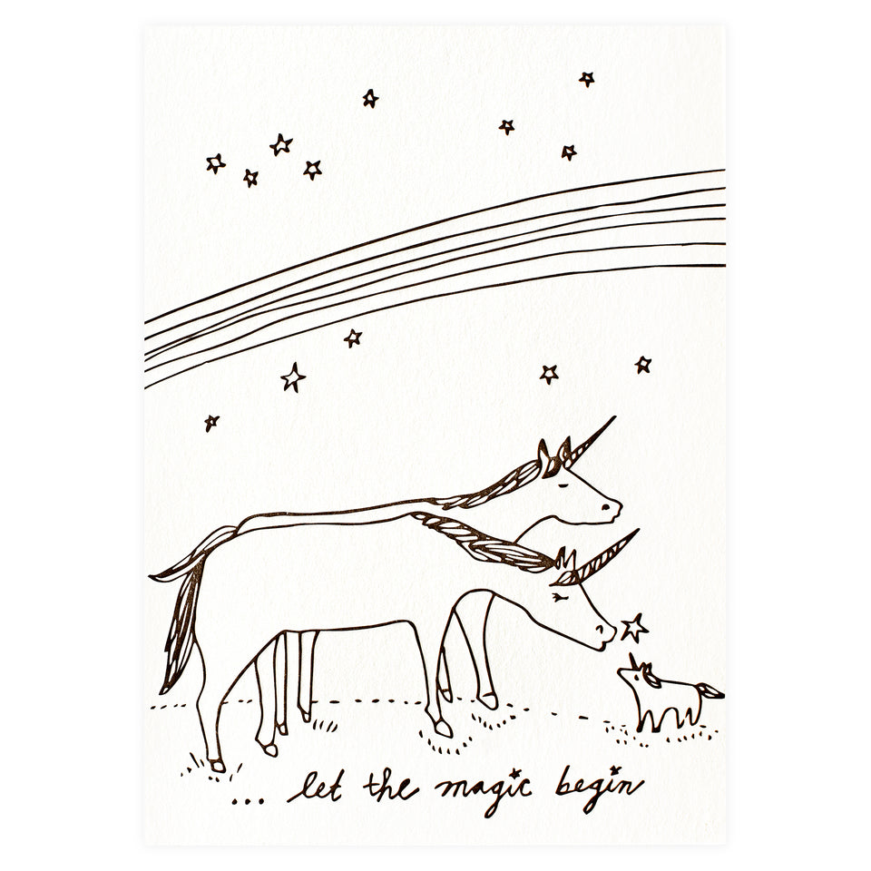 Wolf & Wren Press New Baby Unicorns Greeting Card