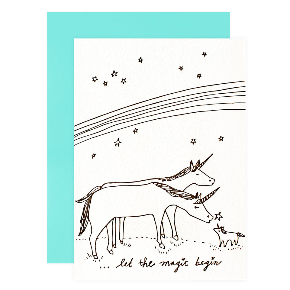 Wolf and Wren Press New Baby Unicorns Greeting Card