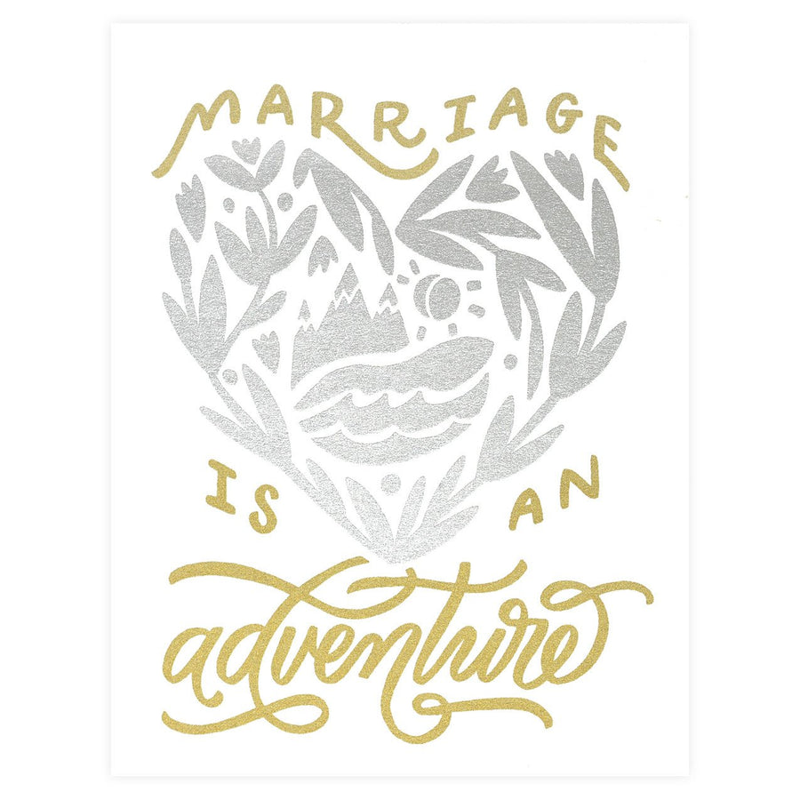Worthwhile Paper Marriage is an Adventure Wedding Card