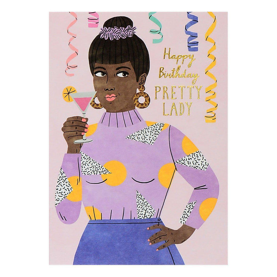 Wrap Happy Birthday Pretty Lady Greeting Card