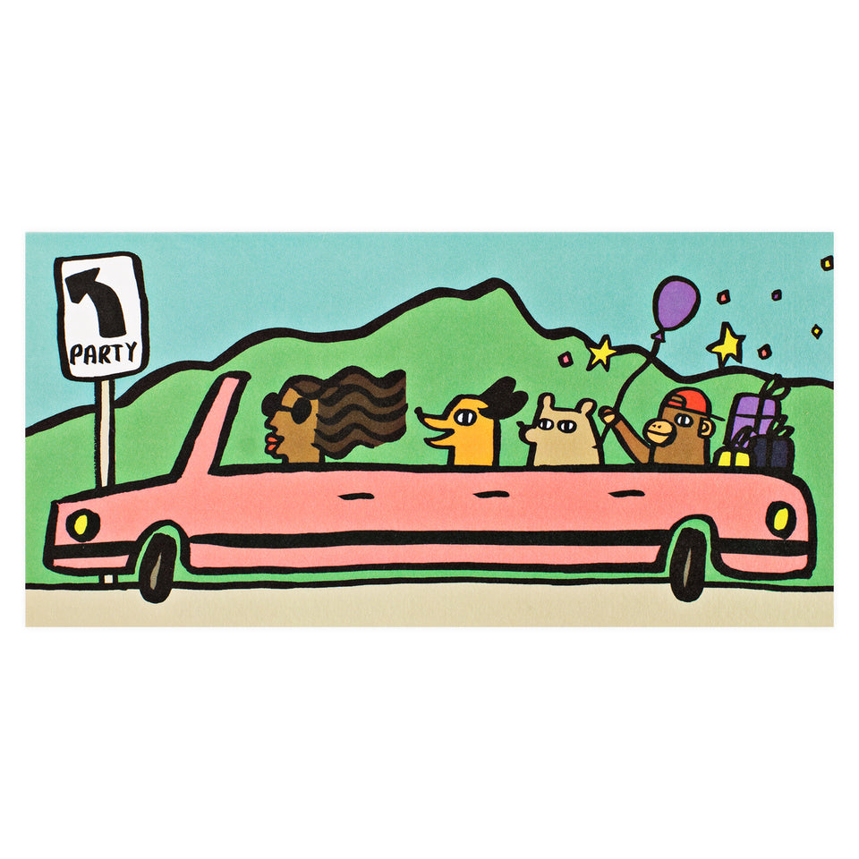 Wrap Party Car Birthday Card