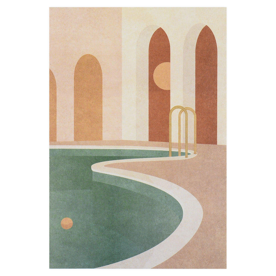 Wrap Pool With Arches Art Greeting Card