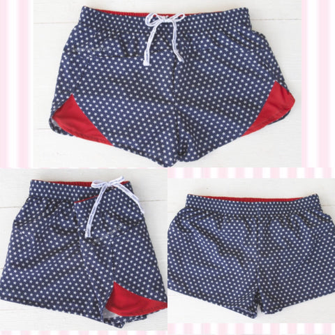 Jadelynn Brooke Red, White & Blue Stars Patriotic Athletic Shorts