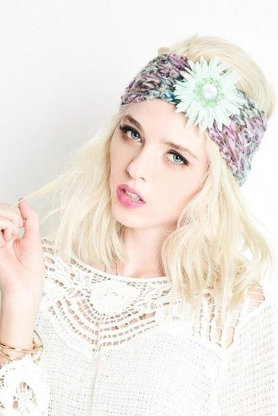Multicolored Knit Headwrap With Bling Deco Flower - Haute Stuff Boutique