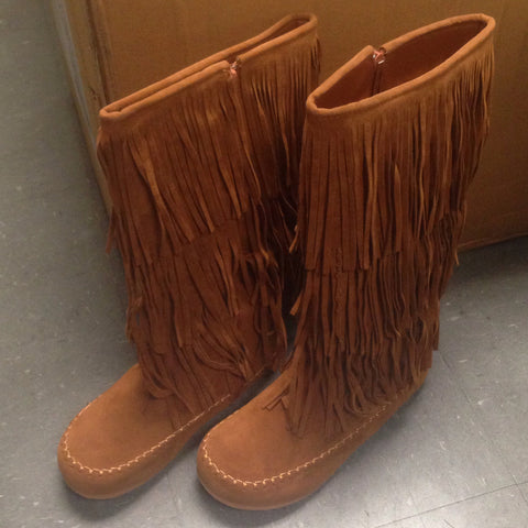 Tall Fringe Boots In Tan