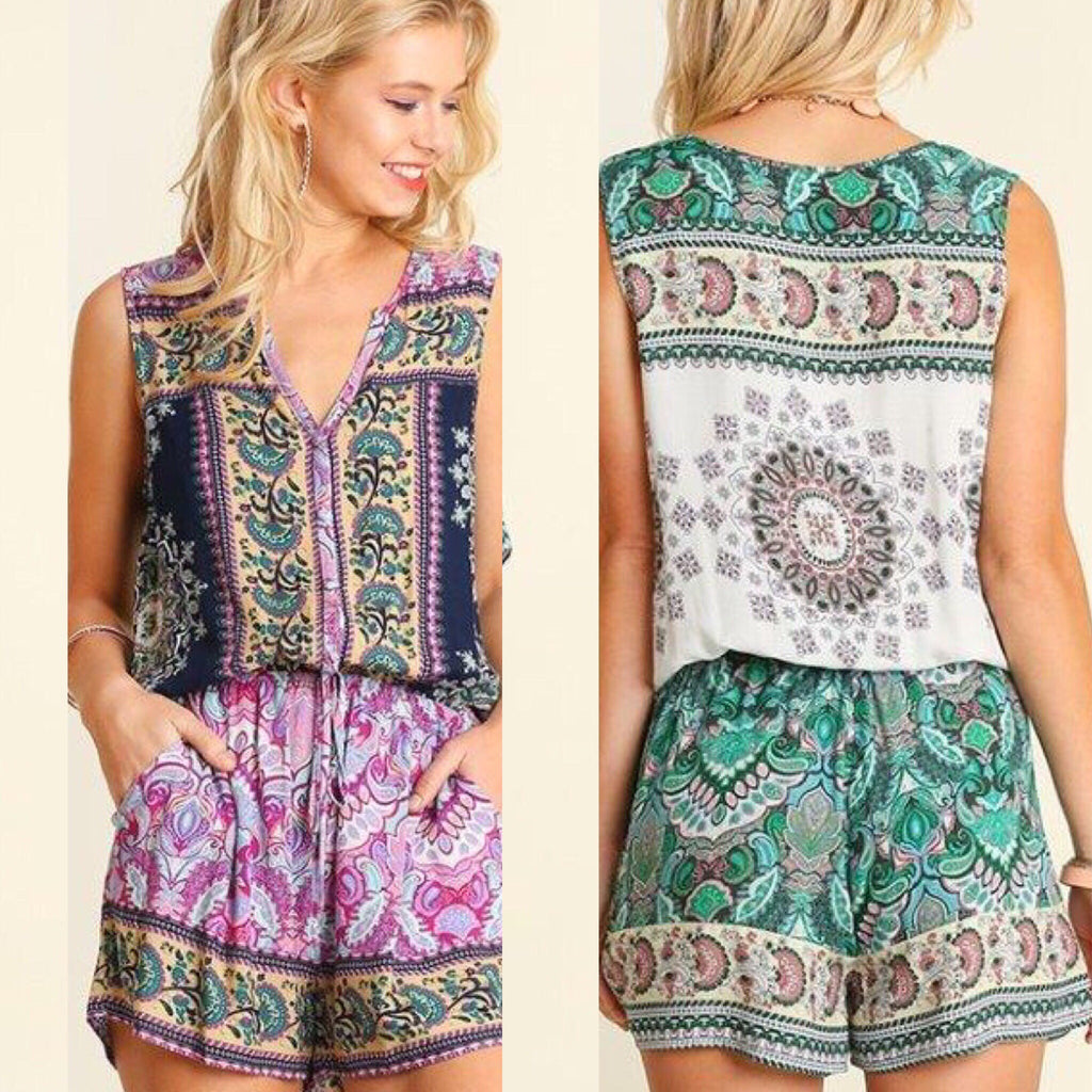 Sleeveless Print Romper - Haute Stuff Boutique