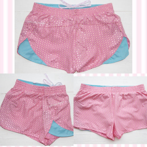 Jadelynn Brooke Pink Foil Dots Athletic Shorts