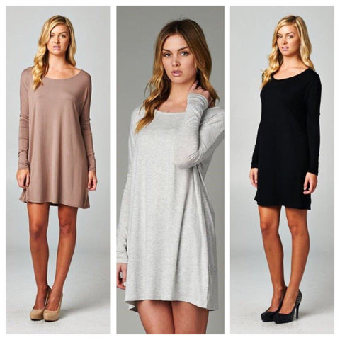 Solid Long Sleeve Tunic - Multiple Colors - Regular & Plus Size