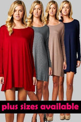 Solid Long Sleeve Tunic - Multiple Colors - Regular & Plus Size - Haute Stuff Boutique