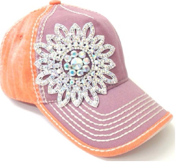 Lilac And Tangerine With Bling Flower - Haute Stuff Boutique