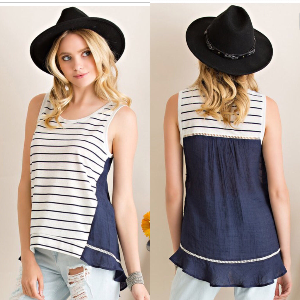 Navy Striped Sleeveless Top - Haute Stuff Boutique