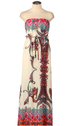 Strapless Print  Maxi Dress