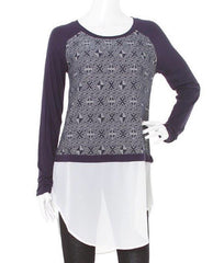 Navy Raglan Sweater With White Chiffon Underlay by The Wish Collection - Haute Stuff Boutique