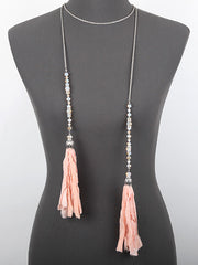 Fabric Tassel Necklace With Glass Stones - Haute Stuff Boutique