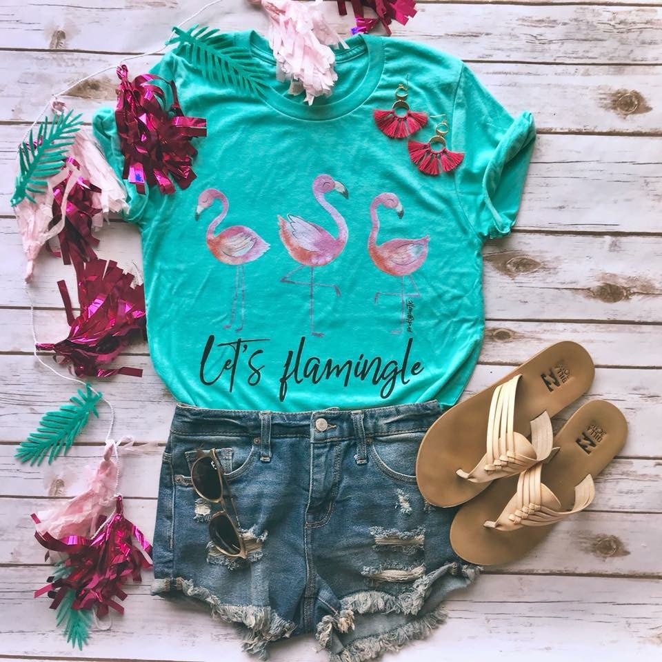 Let's Flamingle Short Sleeve Flamingo Tee - Haute Stuff Boutique