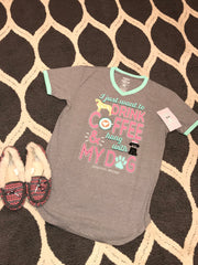 Jadelynn Brooke Sleep Shirt, I Just Want To Drink Coffee & Hang With My Dog - Haute Stuff Boutique