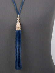 Beaded Long Tassel Necklace and Earring Set - Haute Stuff Boutique