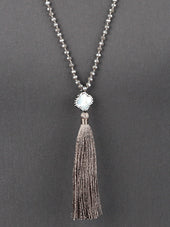 Beaded Tassel Necklace - Multiple Color Options - Haute Stuff Boutique