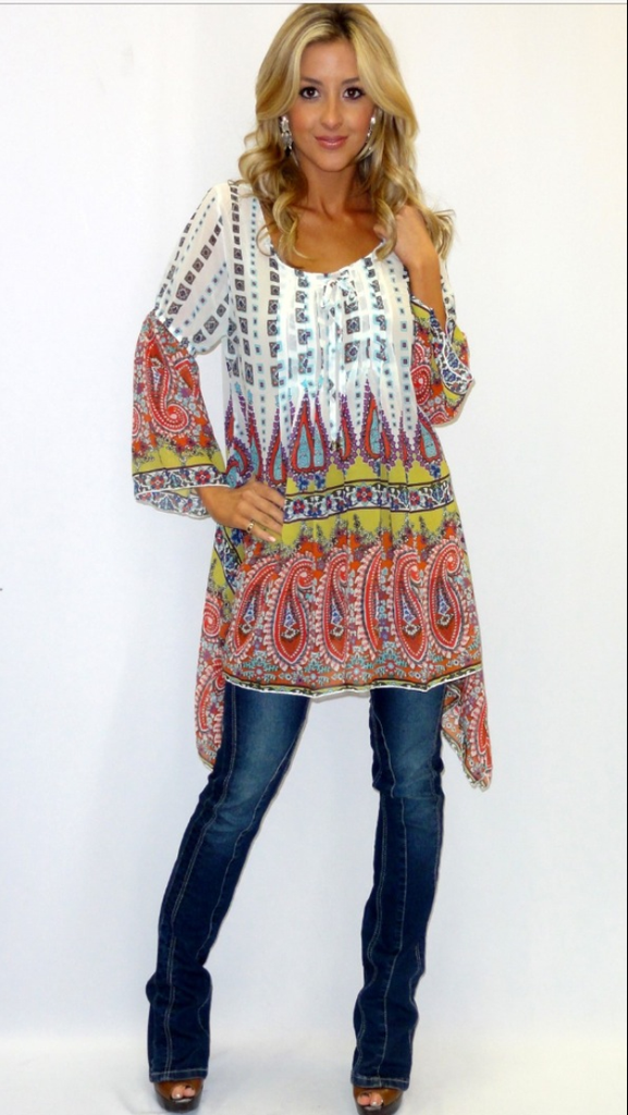 Paisely Multicolored Hi-Lo Tunic / Dress - Haute Stuff Boutique