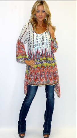Paisely Multicolored Hi-Lo Tunic / Dress