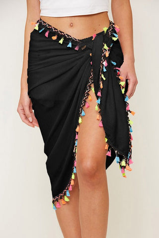 Tassel Trim, Tie Waist Wrap Skirt - Swim Suit Cover Up