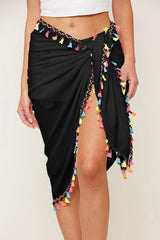 Tassel Trim, Tie Waist Wrap Skirt - Swim Suit Cover Up - Haute Stuff Boutique