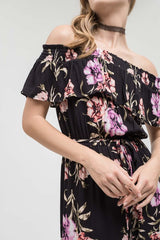 Off The Shoulder Tropical Print Jumpsuit - Haute Stuff Boutique