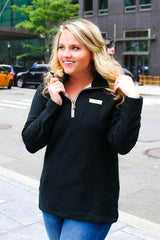 Jadelynn Brooke Boyfriend  Quarter Zip Pullover - Haute Stuff Boutique