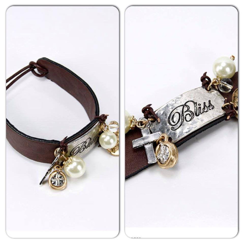 Slim Brown Leather Toggle Closure Bracelet - Haute Stuff Boutique