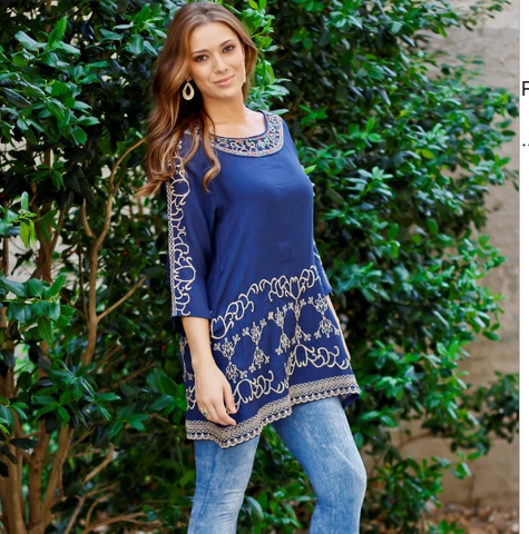 Navy Embroidered Top Regular And Plus Size