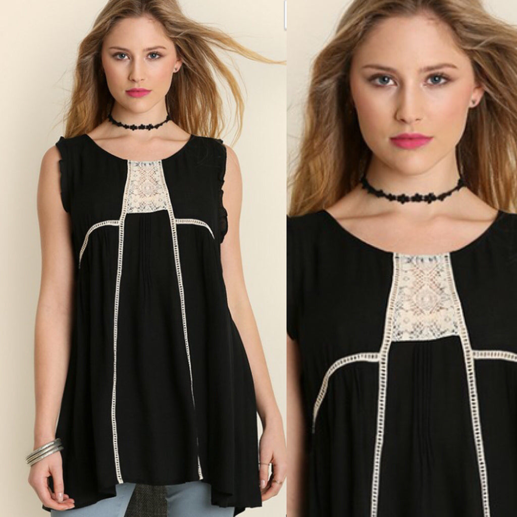 Savannah Black Sleeveless Boho Tunic With Lace Detail - Haute Stuff Boutique