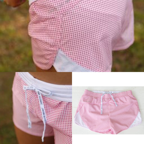 Jadelynn Brooke Pink & White Gingham Athletic Shorts