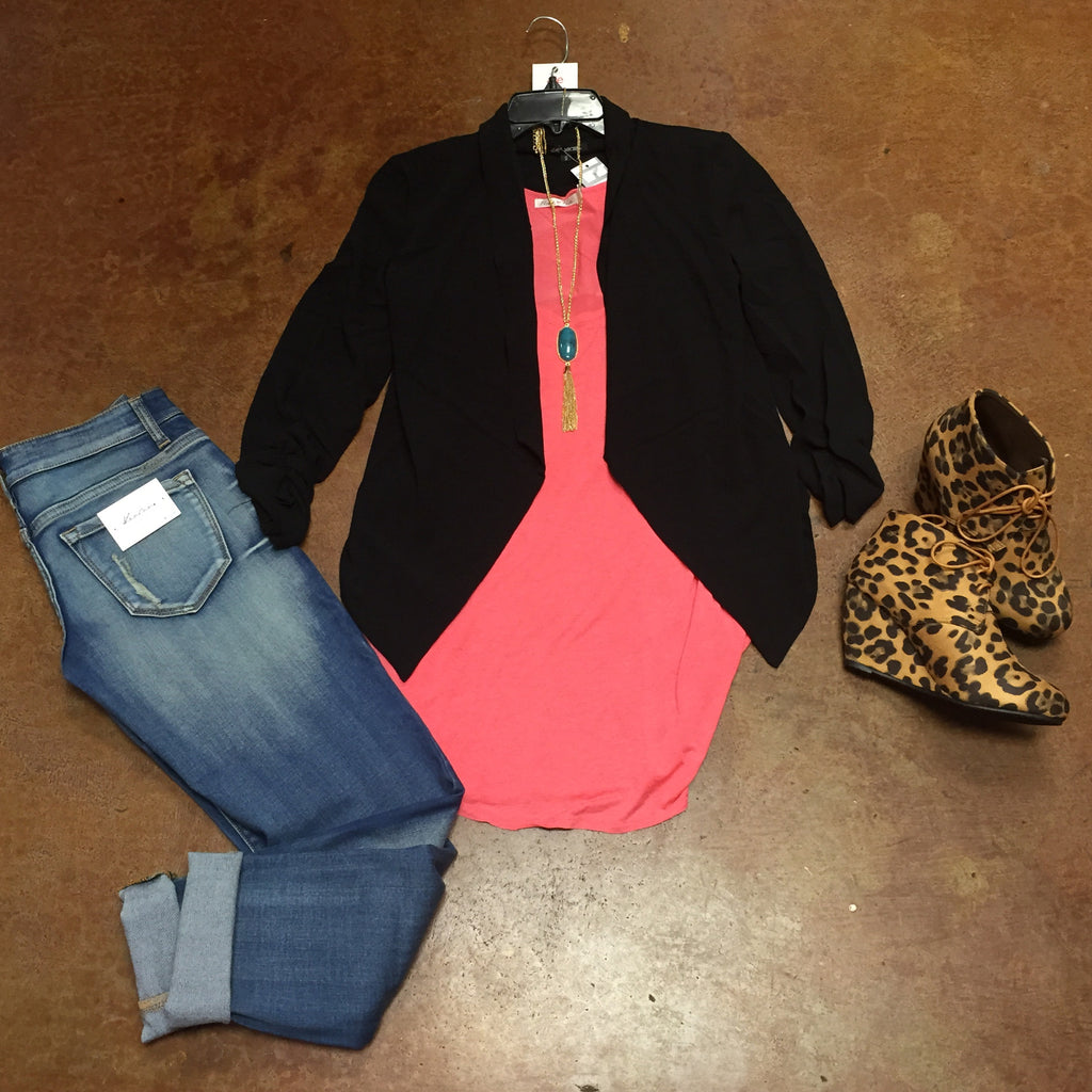 Taking Care of Business Blazer Style Jacket In Black or Hot Pink - Haute Stuff Boutique