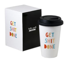 Thermal Coffee Mug With Lid - Get Shit Done, Every Day I'm Hustlin, Be Awesome, Good Vibes Only - Haute Stuff Boutique