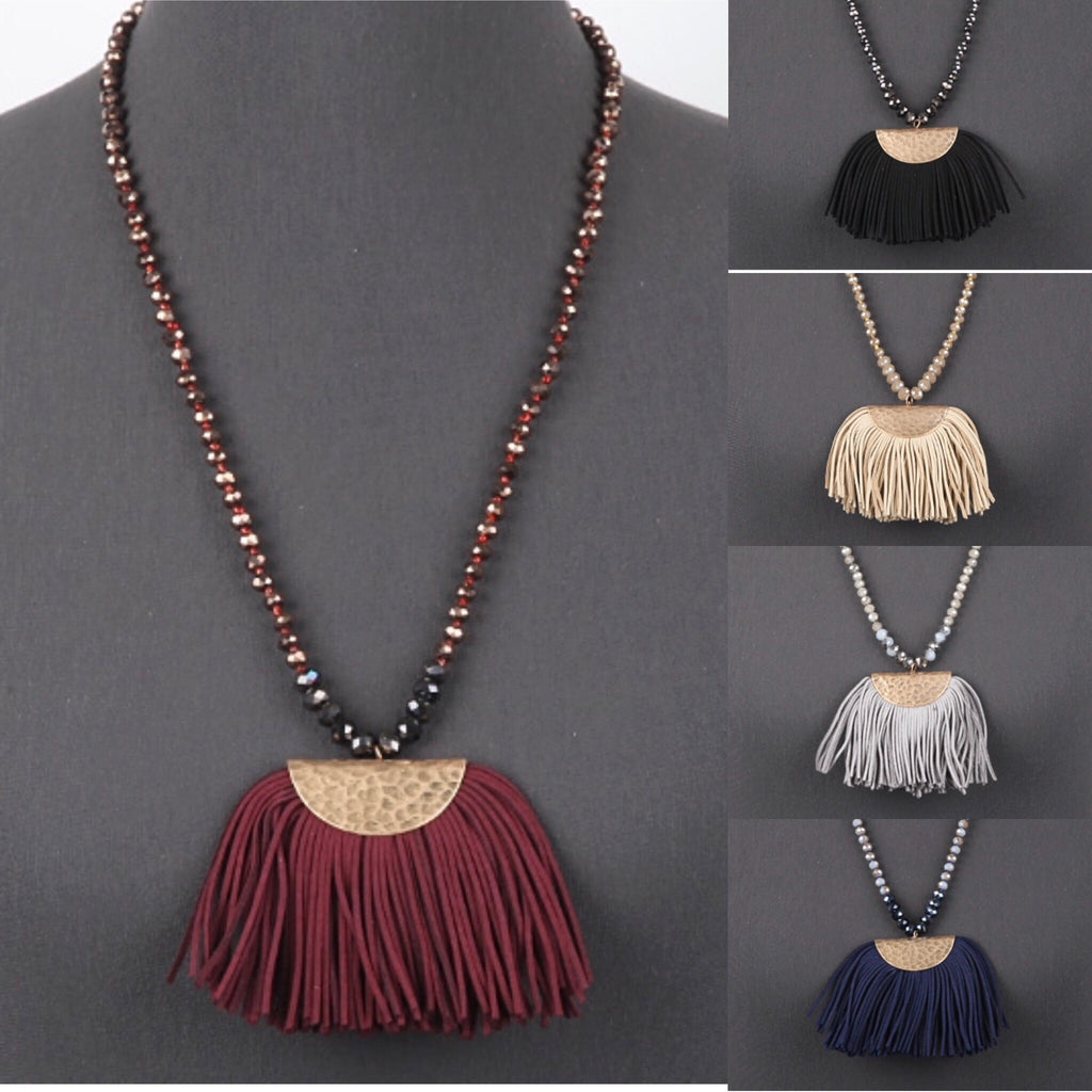 Glass Bead Necklace With Suede Tassel - Haute Stuff Boutique