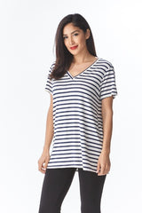 Basically Fabulous Short Sleeve Striped Modal Top - Haute Stuff Boutique