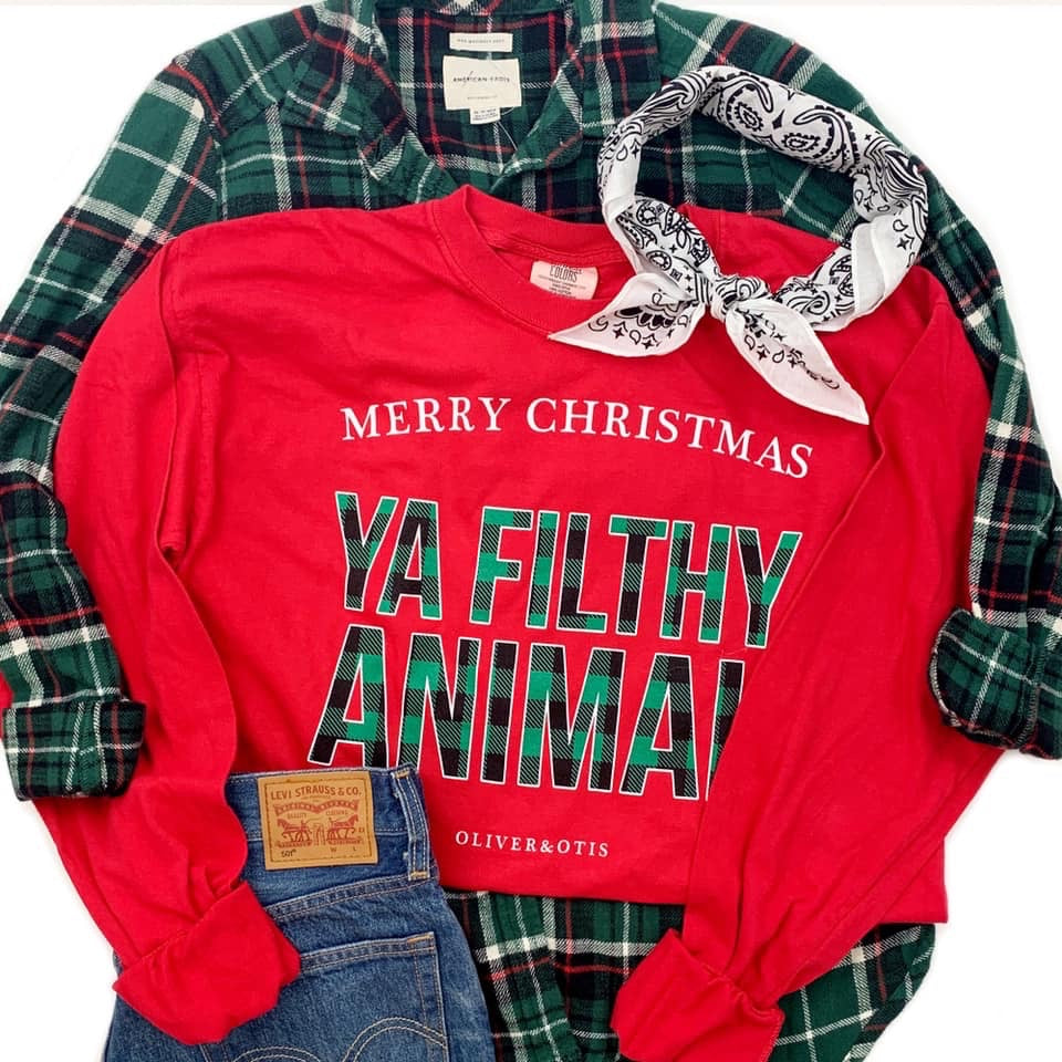 Merry Christmas You Filthy Animal Long Sleeve - Haute Stuff Boutique
