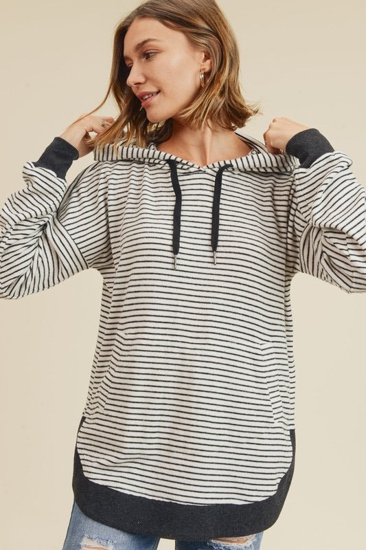 Brushed Fleece Striped Pullover Hoodie With Round Hem