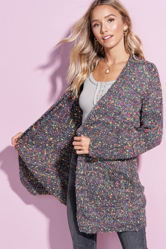 Rainbow Confetti Popcorn Cardigan In Charcoal