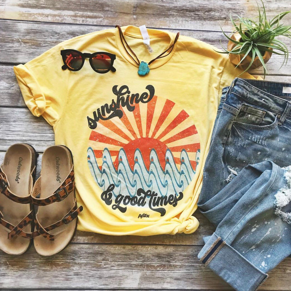 Sunshine and Good Times Short Sleeve Tee - Haute Stuff Boutique