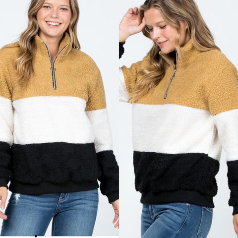 Color Block Fleece Pullover