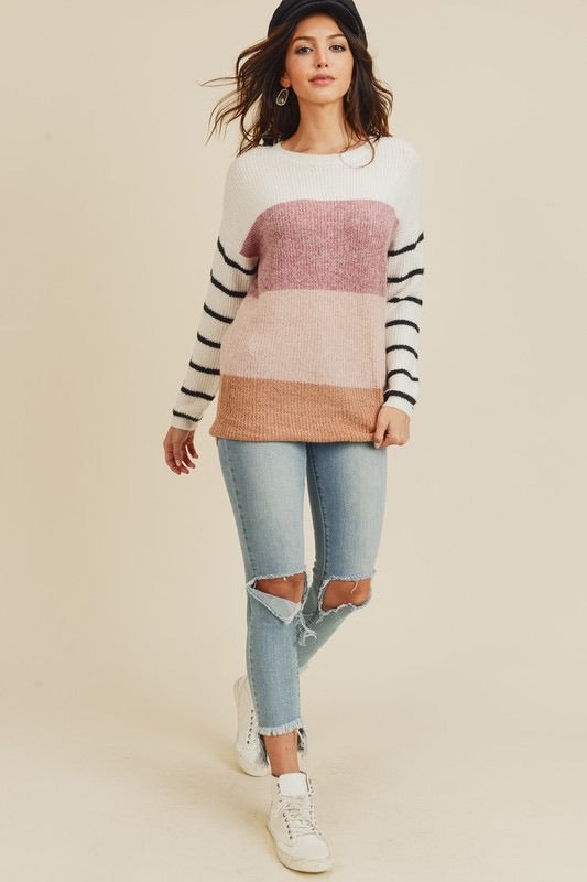 Color Block Sweater With Striped Sleeve - Haute Stuff Boutique