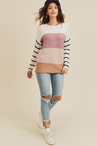Color Block Sweater With Striped Sleeve