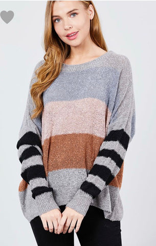 Grey Color Block Sweater