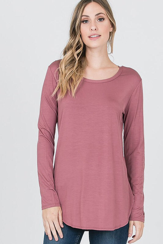 Basically Fabulous Long Sleeve Top in Dark Mauve - Haute Stuff Boutique