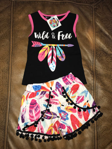 Toddler & Kids Wild & Free Feather & Arrow Short Set